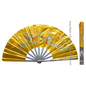 Fan01 - Metal Dragon Phoenix Golden Fan