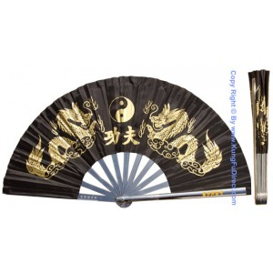 Fan02 - Metal Golden Dragon Black Fan