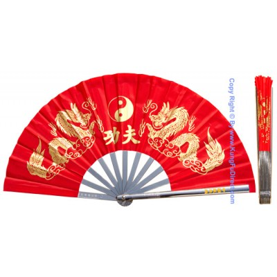 Fan03 - Metal Golden Dragon Red Fan