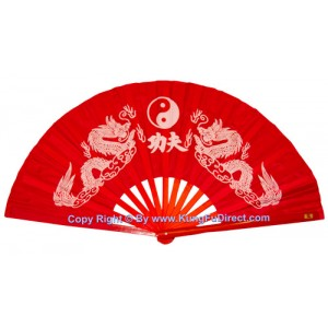 Fan11 - Twin Dragon Red Fan