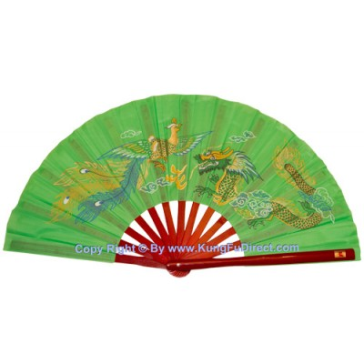 Fan14 - Dragon Phoenix Green Fan