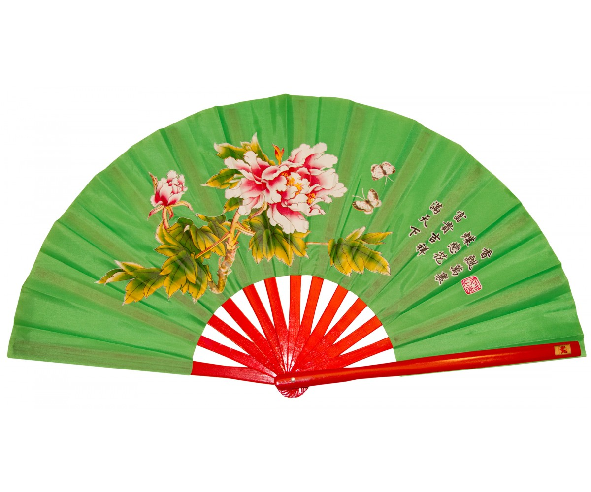 Fan15-1 - Mudan Flower Green Fan