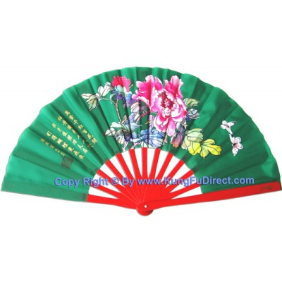 Fan15 - Mudan Flower Green Fan