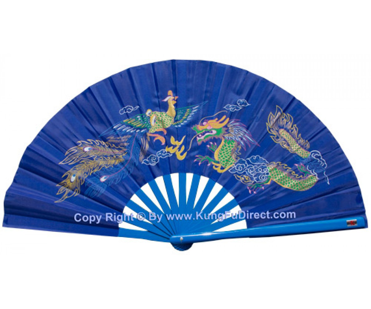 Fan17 - Blue Dragon Phoenix Fan Blue Bamboo Rib 13""