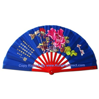 Fan18 - Mudan Flower Blue Fan