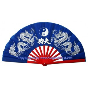 Fan19 - Twin Dragon Blue Fan