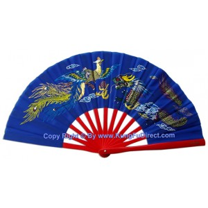 Fan16 - Dragon Phoenix Blue Fan with Red Bamboo Rib