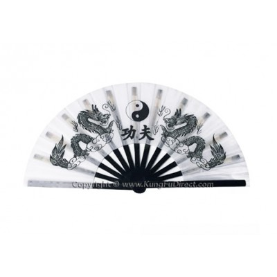 Fan27 - Dragon Design White Fan -13""