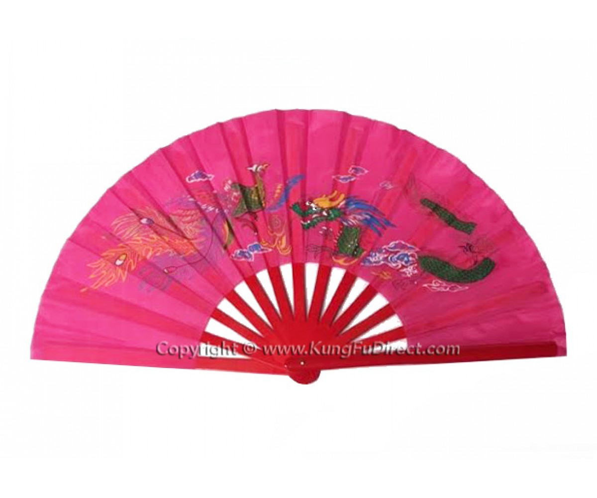 Fan28 - Dragon Phoenix Pink Fan -13""