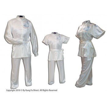 U0712 - White Satin Uniform with Dragon Design Embroidery