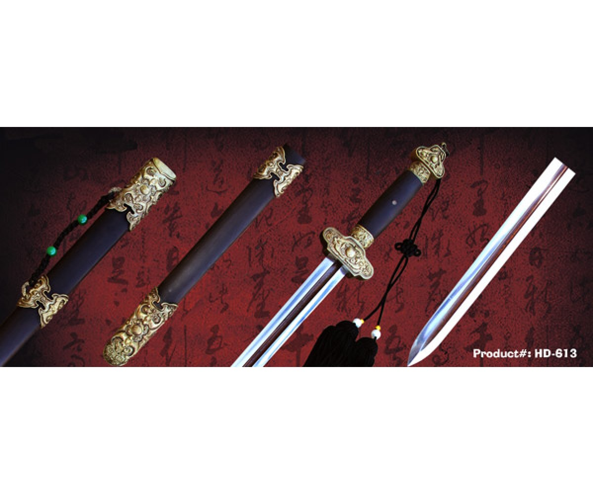 HD-613 - Overlord sword -Red Groove pattern  霸王剑 红槽花纹钢
