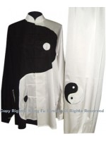 UC084 - Black and White Uniform with Large Tai Chi Logo