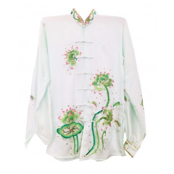 PSU006 - White Lotus Flower Embroidery Uniform