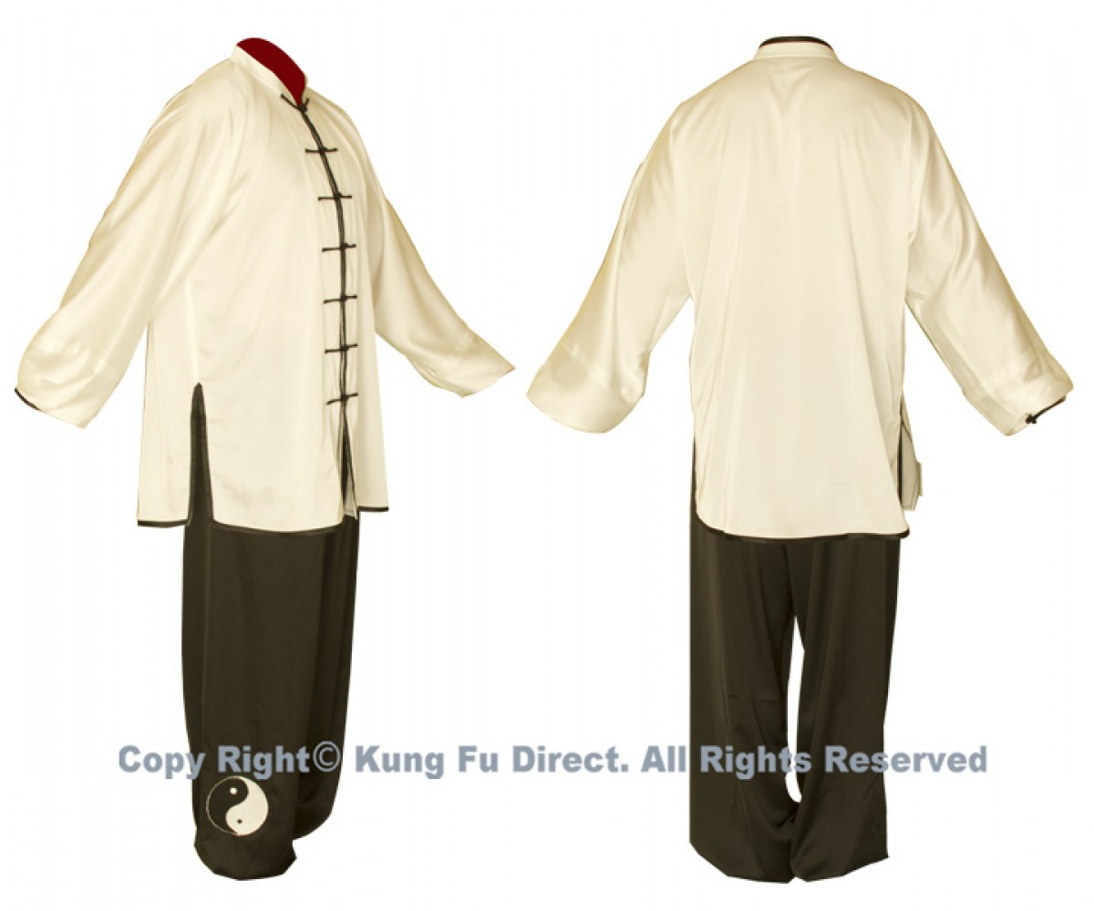 UC082 - White Uniform with Black Tai Chi Logo 白衣黑阴阳