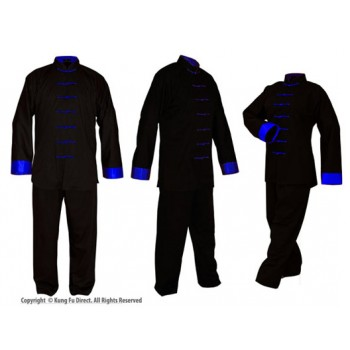 U0701 Black Soft Cotton Uniforms with Blue Trim(discontinued)