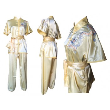 U0710 - Pale Yellow Satin Uniform with Dragon Embroidery