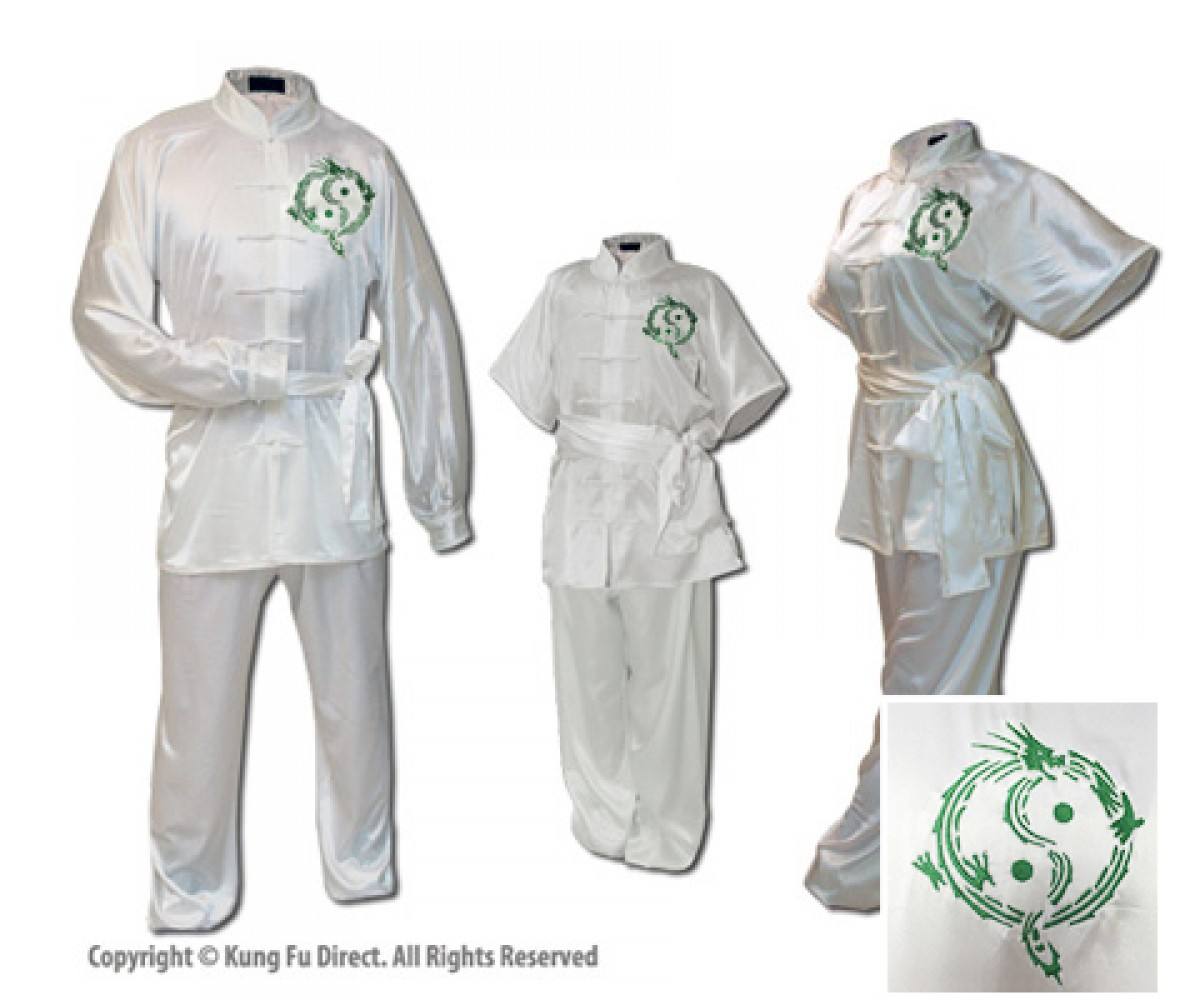 U0712-1 - White Satin Uniform with Dragon Design Embroidery