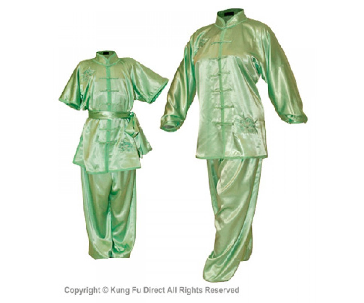 U0713 - Green Satin Uniform with Flower Embroidery