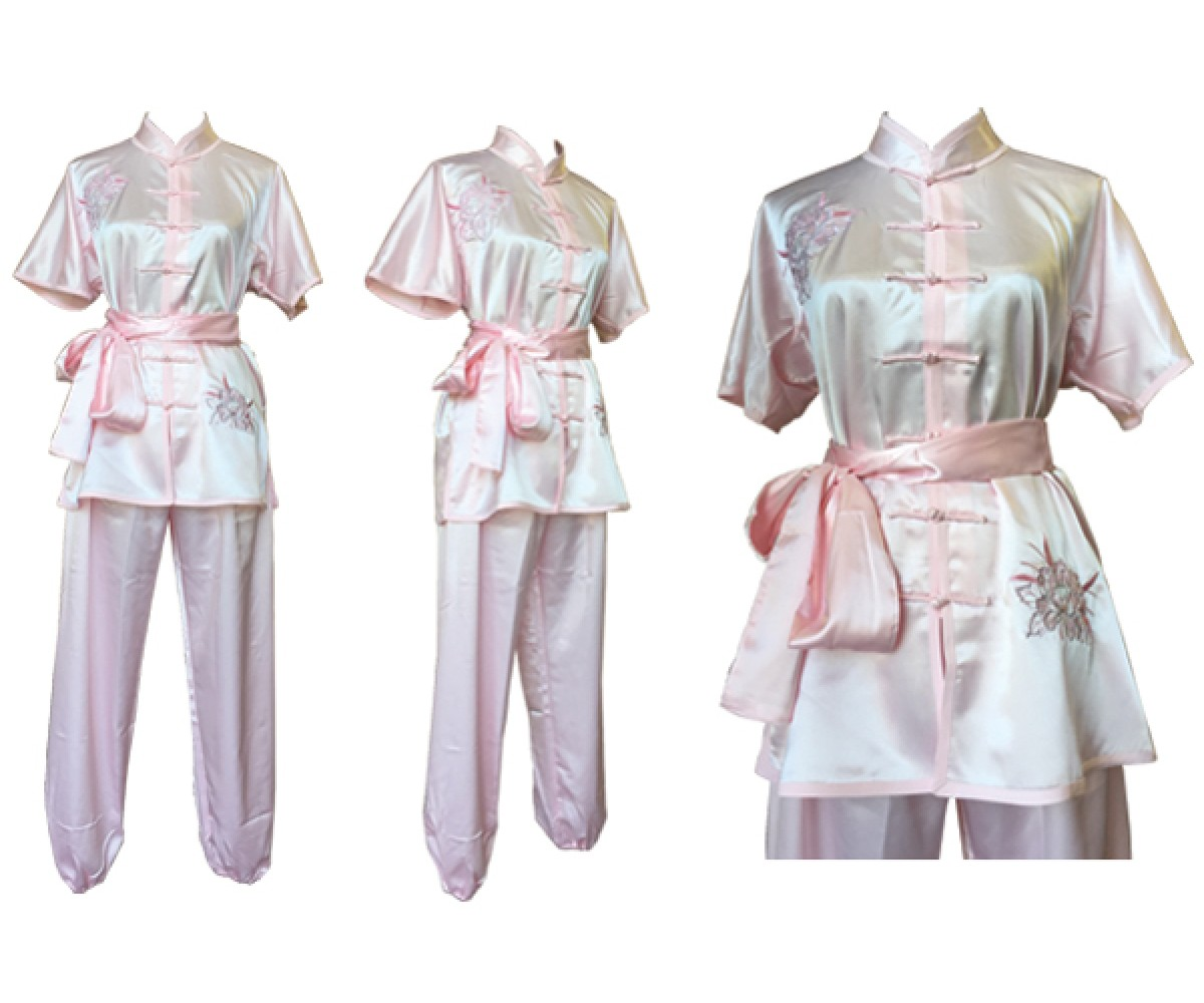 U0714 - Light Pink Satin Uniform Flower Embroidery