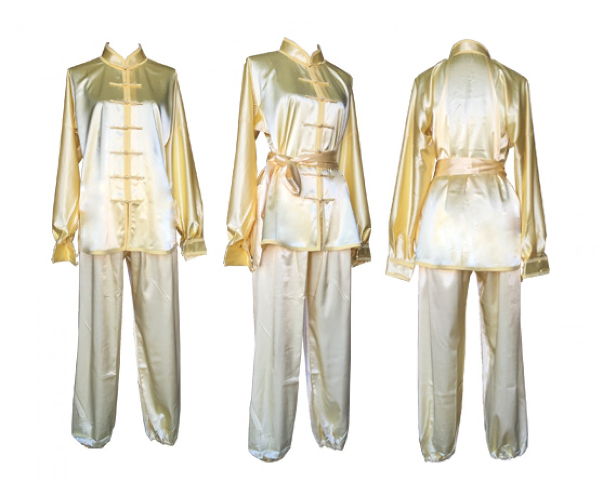 U0752-1 - Pale Yellow Satin Uniform/ short sleeve & Long Sleeve