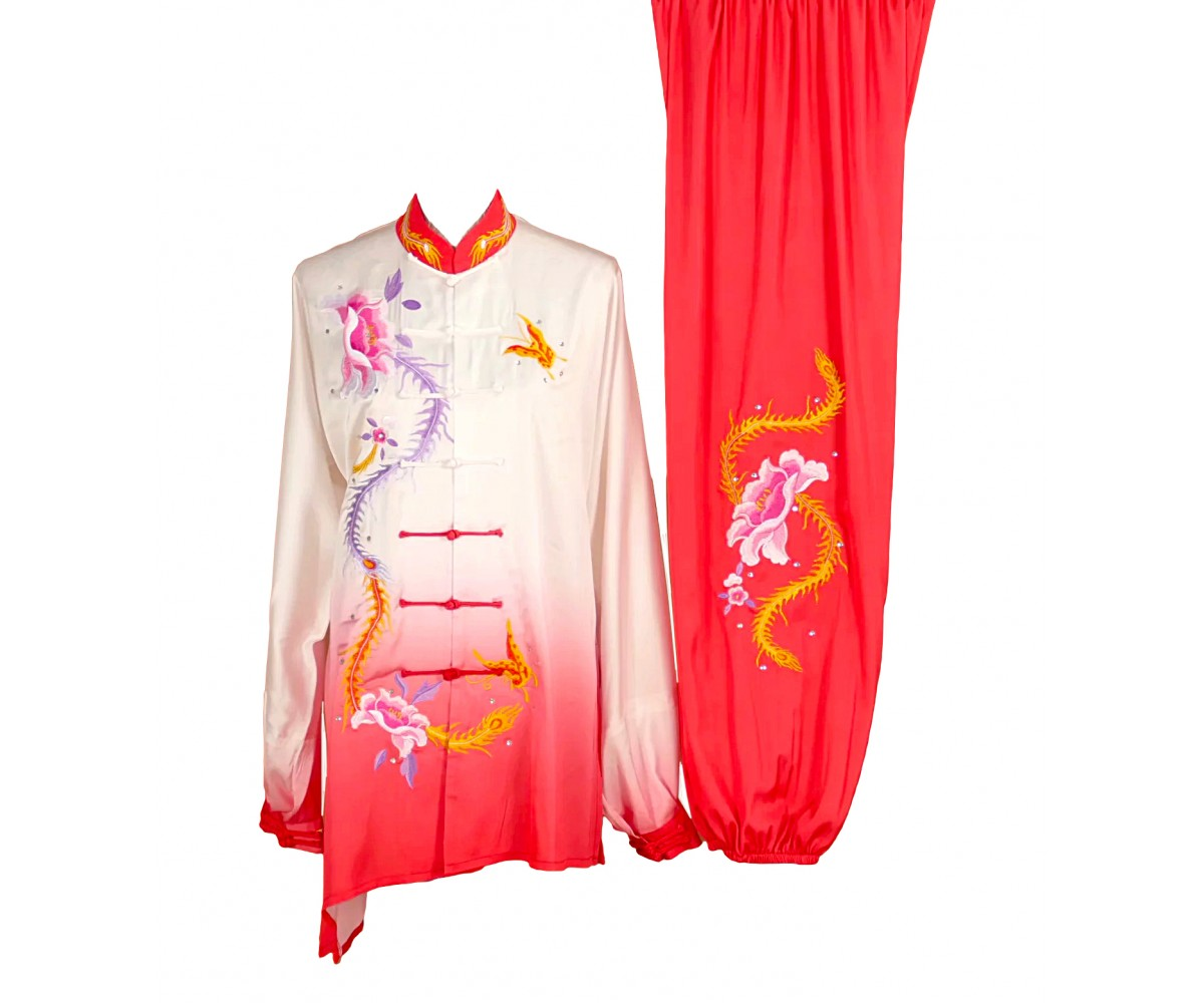 UC003 - Red/White Gradient Uniform with Flower Embroidery