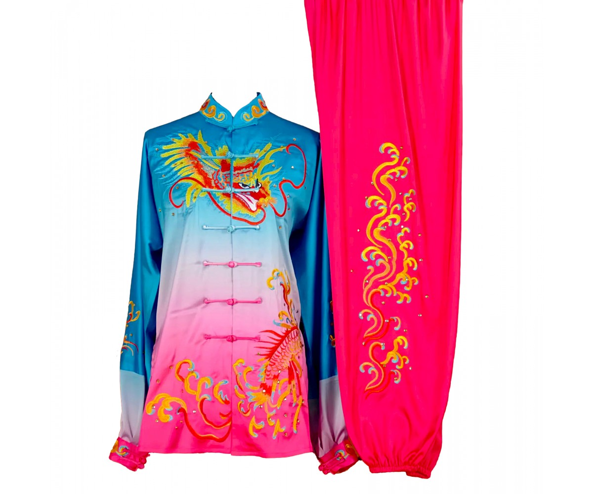 UC006 - Blue/Pink Gradient Uniform with Dragon Embroidery
