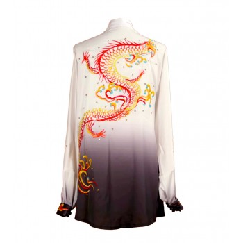 UC007 - White/black Gradient Uniform with Dragon Embroidery