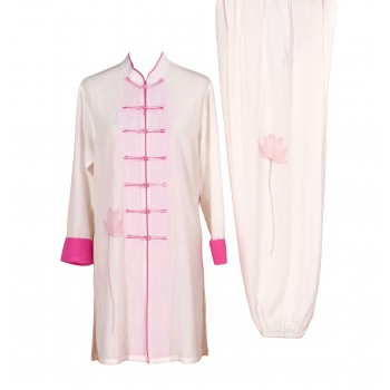 UC013 - White/Pink Uniform with Flower Embroidery