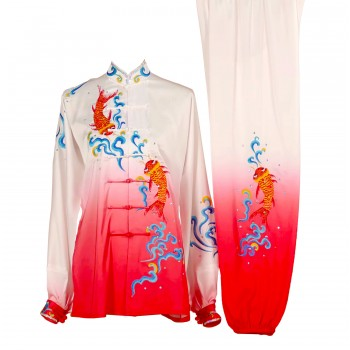 UC018 - White/Red Gradient Uniform with Red Embroidery