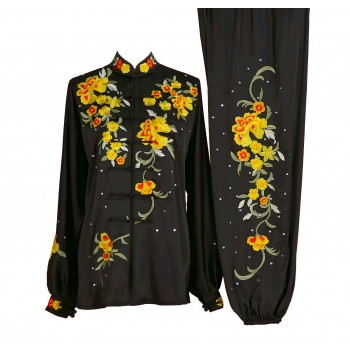 UC019 - Black Uniform with Flower Embroidery