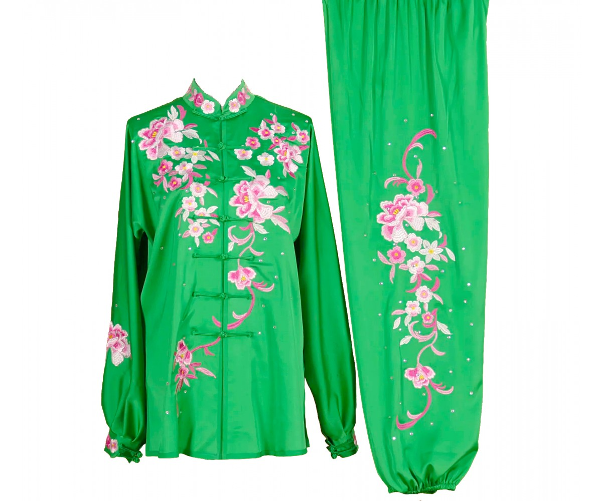 UC020 - Green Uniform with Flower Embroidery