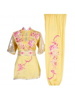 UC021 - Pale Yellow Uniform with Flower Embroidery