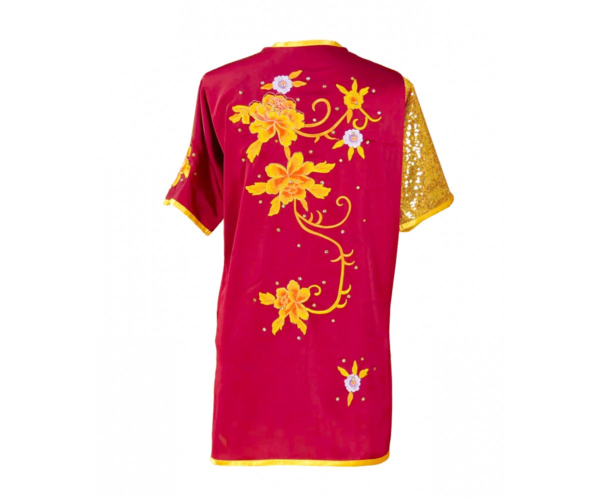 UC025 - Cardinal Red Uniform with Flower Embroidery