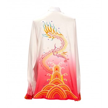 UC026 - White/Red Gradient Uniform with Dragon Embroidery