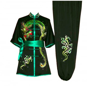 UC032 - Black Uniform with Phoenix Embroidery