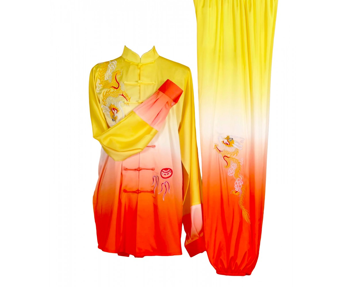 UC034 - Yellow/White/Red-Orange Gradient Uniform with Dragon Embroidery