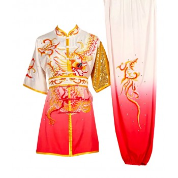UC035 - White/Red Uniform with Dragon Embroidery