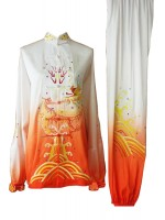 UC079 - White and Orange Gradient Uniform with Dragon Embroidery