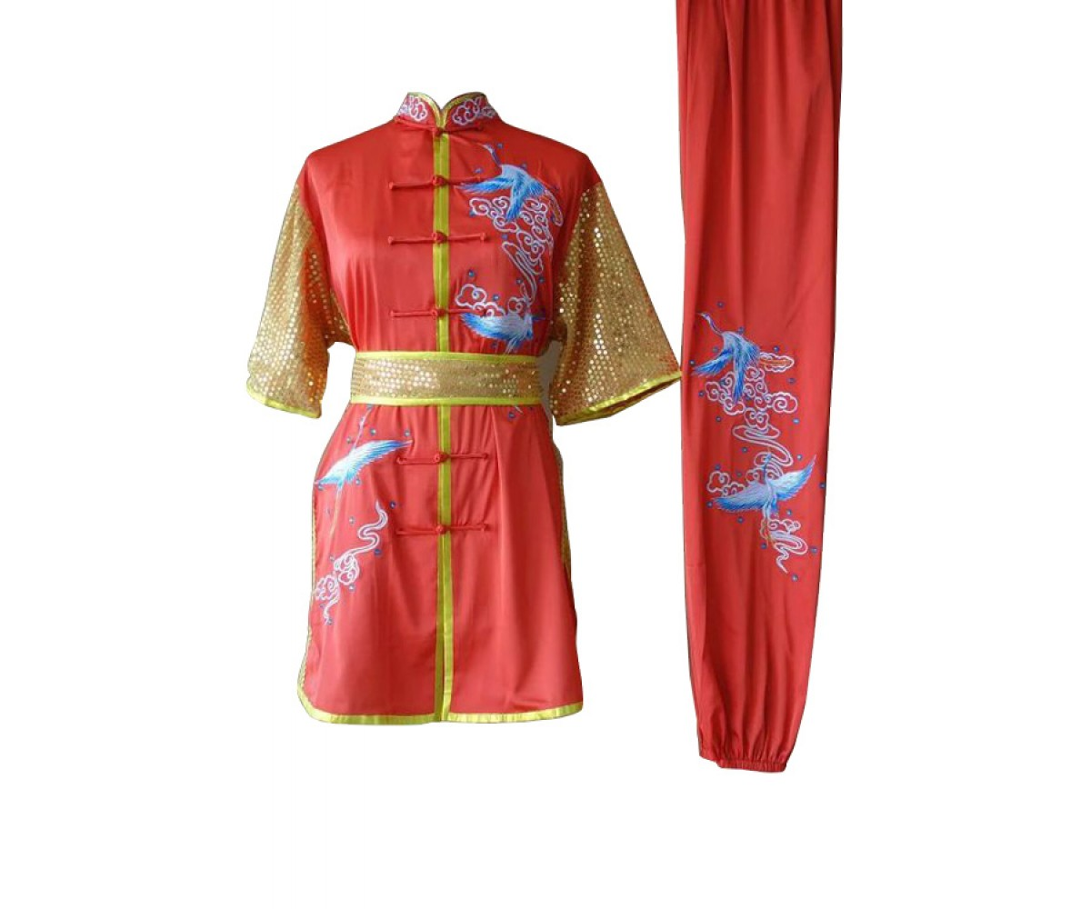 UC089 - Red Uniform with Phoenix Embroidery