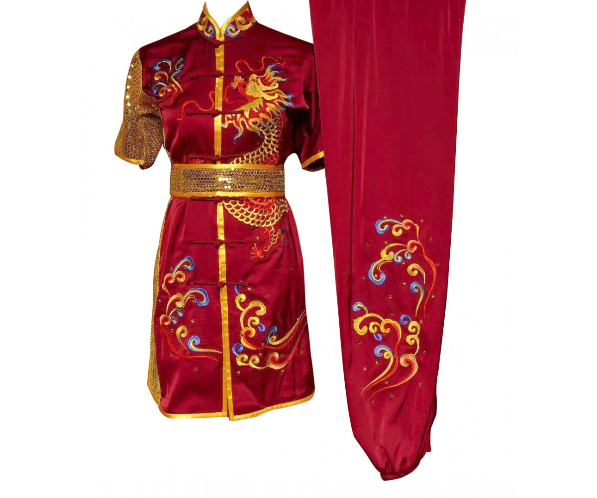 UC093 - Red Uniform with Dragon Embroidery