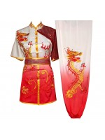 UC094 - Red/White Gradient Uniform with Dragon Embroidery
