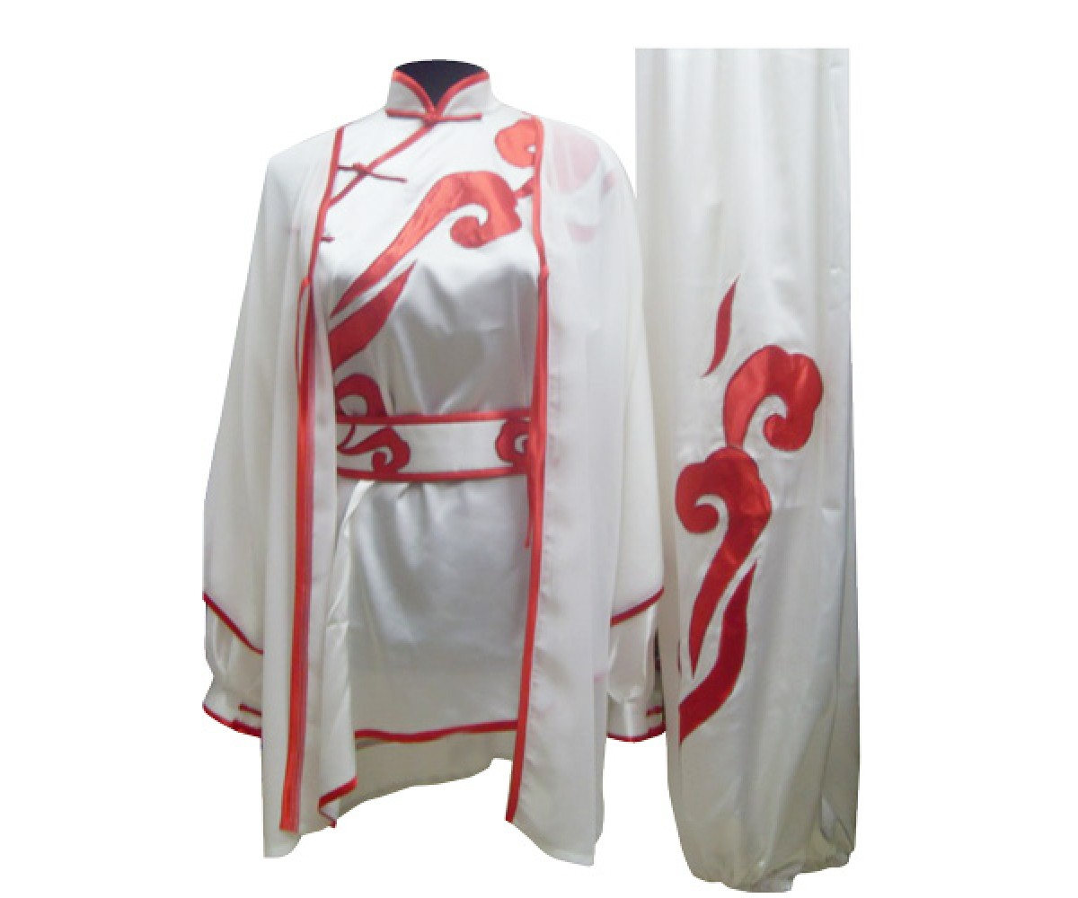 UC100-1 - White Shawl with Red Trim - Shawl only