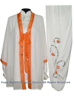 UC102 - White Shawl with Orange Trim - Shawl Only