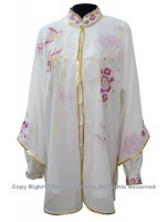 UC103 - White Shawl with Pink/Magenta Flower Embroidery and Golden Trim - Shawl Only