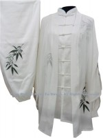 UC104 - White Shawl with Green Bamboo Embroidery- Shawl Only