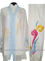 UC105 - White Shawl with Light Blue Trim- Shawl Only