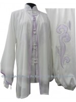 UC106 - White Shawl with Light Purple Trim- Shawl Only