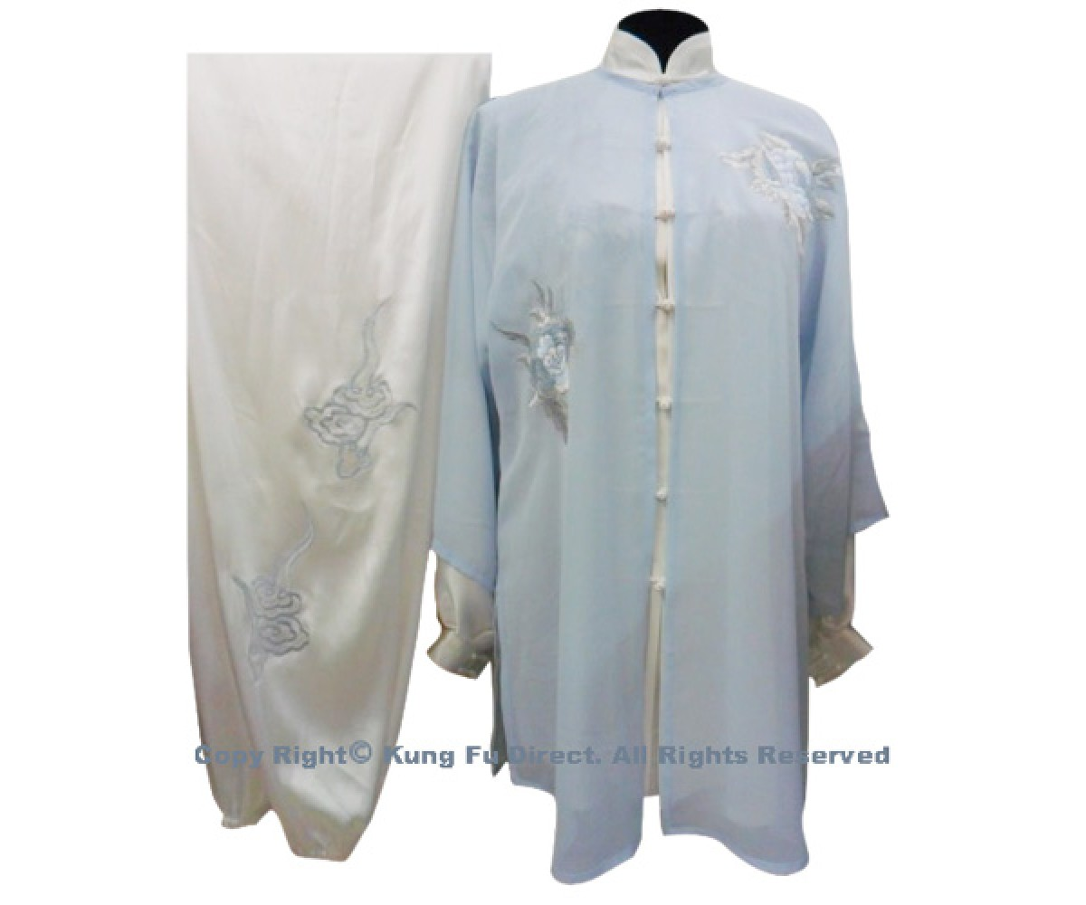 UC107 - Light Blue Shawl with Peony Flower Embroidery- Shawl Only