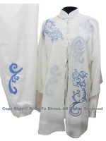 UC111 - White Shawl with Blue Flower Embroidery- Shawl Only
