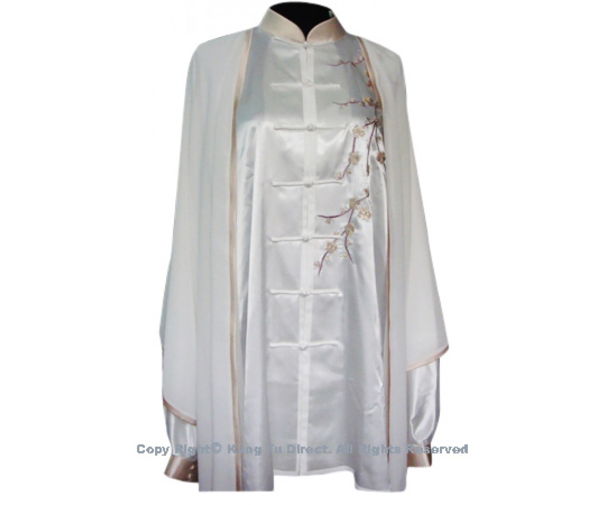 UC112 - White Shawl with Light Brown Trim- Shawl Only